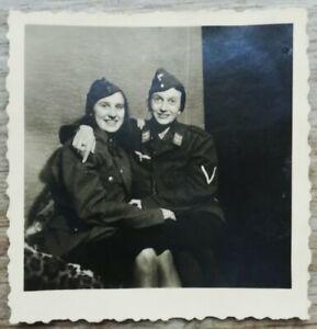 Frauen Doppelportrait Uniform Rock Luftwaffe 2.WK 5,5x5,5 Original Foto