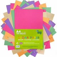 A4 Sugar Paper - 100 x Bright Coloured Sheets - 21001 - Made in the UK by Ivy