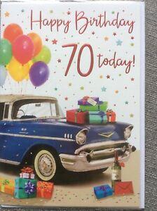 Happy 70th Birthday. Large Quality Card.Modern Car & Presents Design.