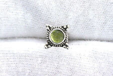 One Single 4mm Round Peridot Sterling Silver Cabochon Cab Gemstone Stud Earring