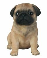 Sitting PUG Puppy Dog - Life Like Figurine Statue Home / Garden NEW