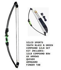 Juvenil/Infantil Negro Y Verde Compuesto Tiro Con Arco 5.4 kg Kit Set 6 X