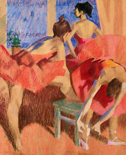 Oil painting a group of young girls ballets in red skirts Hand painted canvas