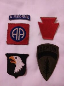 WW2 Original Army Patches 82nd Airborne, 101st Airborne, 28th Infantry & Berlin
