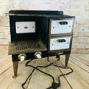 Vtg 1930s EMPIRE Metal Ware Electric Childs Toy Cook Stove