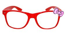 Women's Hello Kitty Eye Glasses Horn Rimmed Clear Lens Red Frame Pink Bow