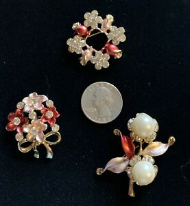 3 Pc Coral/Pink FLOWER RHINESTONE ENAMEL JEWELRY BROOHES/PINS.. Great Gift