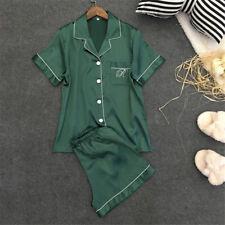 Womens Silk Satin Nightie Lingerie Sleepwear Pyjamas Set Short Sleeve Top Pant Green M