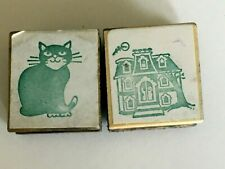 Halloween Rubber Stamps Set of 2 Haunted House & Cat Card Making Craft Fall