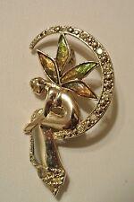 Vintage Signed Liz Claiborne Rhinestone Enamel Fairy Pin Brooch Crescent Moon