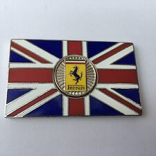 FERRARI Union Jack GB Brass Enamel Classic Car Badge - Self Adhesive