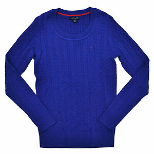 Tommy Hilfiger Womens Sweater Lightweight Cable Knit Crew Neck Pullover New Xs