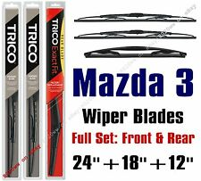 2014+ Mazda 3 Wipers 3pk Standard Wipers Front + Rear Wiper 30240/30180/12A