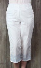 Fashion Bug Capri Cropped Pants White Embroidered size 12 Womens Cotton Casual