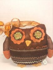 """Country Primitive 7"""" Owl Plush Pillow Decoration Felt Ribbons Embroidered Autumn"""