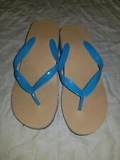 65c1750493 New Avon tan and blue Wedge Flip Flop Tongs by Avon Size med 7/8