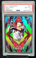 2017 Topps Fire GREEN Angels MIKE TROUT Card /199 PSA 8 NM-MT Total Pop 10