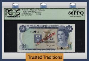 "TT PK 28bs 1978-84 BERMUDA 1 DOLLAR ""QUEEN ELIZABETH II"" ""SPECIMEN"" PCGS 66 PPQ"