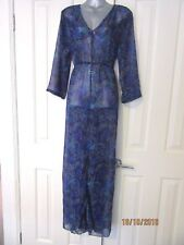 NEW Blue Paisley Sheer Long Maxi Dress Retro Style  BNWT XL