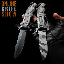 TWIN TAC-FORCE TACTICAL POCKET KNIFE Spring Assisted Open Folding Blade x2 DEAL