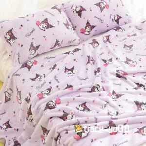 Kuromi purple fuzzy fleece blanket blankets pillowcover bed sheet quilt anime