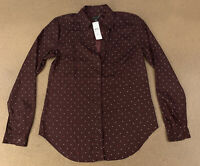 Ann Taylor Women's Size Small Maroon Vino Long Sleeve Dotted Essential Shirt NWT