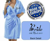 Personalised Bridal Wedding Robe Gown In BABY BLUE satin Bride Mum / Gift Bag