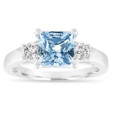 Princess Cut Aquamarine Engagement Ring, Three Stone Ring 14K White Gold 1.80 CT