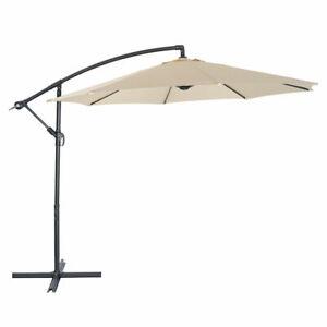 10FT Hanging Umbrella Patio Sun Shade Offset Outdoor UV Resistant W/Crank Tilt