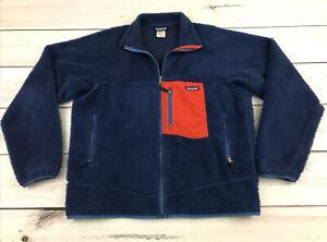 PATAGONIA Men's L Retro X Classic Navy Orange Deep Pile Sherpa Fleece Zip Jacket