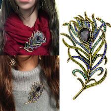 Fashion Women Lady Peacock Feather Crystal Rhinestone Brooches Pin
