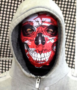 RED CAMO SKULL FACE FUN HORROR 3D FABRIC FACE MASK STAG NIGHT FANCY DRESS FS152