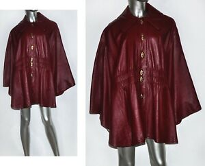 Vintage 60's/70's Genuine Leather Burgundy Red Wine Cape Coat Outerwear
