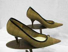 Prada Camel & Dark Beige Tweed Pumps w/ Pointed Leather Cap Toe - Size 37.5