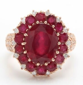 6.90 Carat Natural Red Ruby and Diamonds in 14K Solid Rose Gold Women Ring