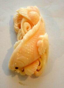 93.9 Carat carved Precious Angel Skin KOI FISH Carving Natural no treatment