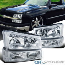 03-07 Chevy Silverado Avalanche Pickup Clear Headlights+Bumper Signal Lamps Pair