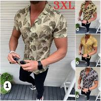 Beach Mens Summer Holiday Fancy Shirts Casual Floral Hawaiian Slim Fit Shirt 3XL