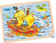 """Puzzle con struttura in legno """"Nave Pirata"""" 96 PEZZI DI LEGNO FINO-motorio 4 anni bambino"""