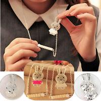 Women Girls Enamel Crystal Rhinestone Rabbit Chain Pendant Necklace Jewelry Gift