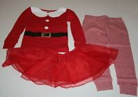 NEW Carter's Girls 3 Piece Holiday Mrs. Santa Claus Red PJs 4 7 8 10 12 14 Year