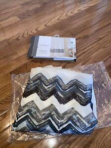 Open Box Threshold Shower Curtain Blue & Grey Chevron