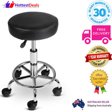 Round PU Leather Swivel Salon Stool Black Height Adjustable Stool Round Seat