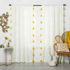 """Curtain Panel  Contrast Stripe Light Filtering with Tassels Size 84""""x54"""""""