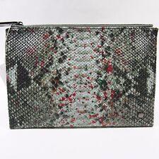 Neiman Marcus Women's Clutch Handbag.Embossed Python Snake Print. Olive.