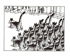 Cat Scouts Marching In Parade Kliban Cat Print Black White Vintage