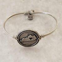 Luca + Danni USA Love Heart Virginia State Silver Tone Bangle Bracelet