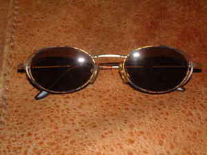 Vintage Skagen 98005 Hand Brushed Gold Tortoise Metal Oval Sunglasses + Case