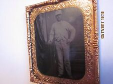 1/6 Tintype of Painter/Plasterer in White Work Clothes in Mat and Frame