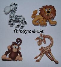 4 SILLY SAFARI ANIMALS/ZOO THEMED NOVELTY CRAFT BUTTONS - CARDMAKING/SEWING